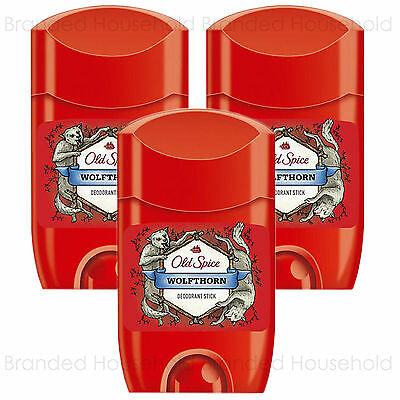 3 X Old Spice Wolfthorn Deodorant Roll On Stick Mens 50Ml
