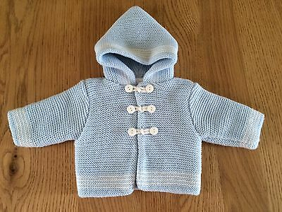 Baby Boy light blue chunky Knitted Hoodie Newborn *New* > C13