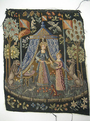 FINEST DETAIL c 1800's French Antique MICRO Petit Point EUROPEAN TAPESTRY Panel