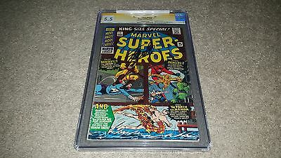Marvel Super Heroes #1 (Oct 1966) CGC 5.5 SS Stan Lee Signed - 1st One-Shot Work