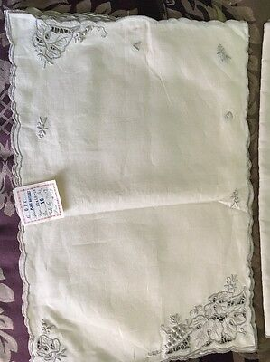 VTG Irish Linen Dinner Placemats And Napkins Set Hong Kong Hand Embroidered