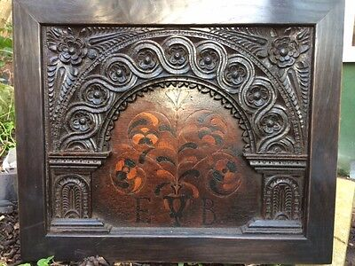 Inlaid English Oak Tester Bed Panel Circa 1580 Coffer Bible Box 16Th Century