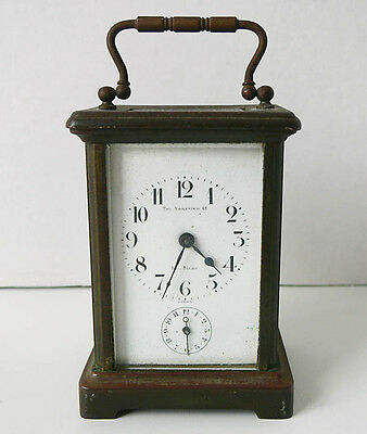 Antique FRENCH brass CARRIAGE CLOCK sold by the ERNSTING CO for parts/repair NR