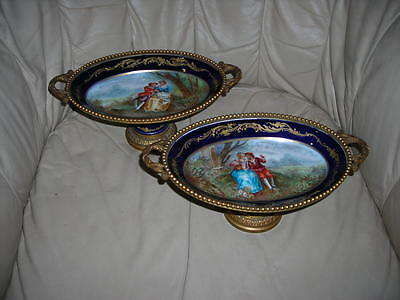 Sale! Pair Of Antique 19Th C. Signed French Bronze Paris Hand Painted Compotes