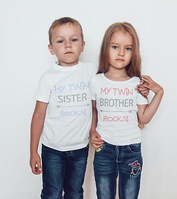 My twin rocks set of 2 t-shirts or bodysuits/childrens Tshirt / twin gift