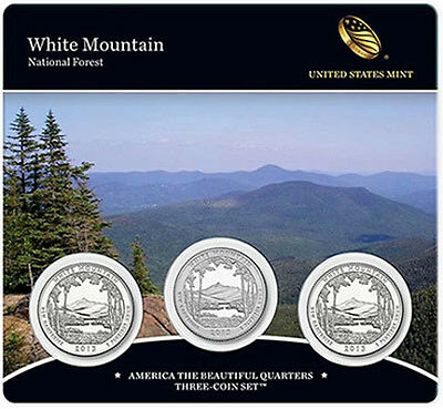 2013 America The Beautiful White Mountain  3-Coin Set In Mint Sealed Packaging