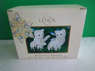 Lenox BUTTERFLY MEADOW KITTEN Salt and Pepper Shakers CAT New-in-Box