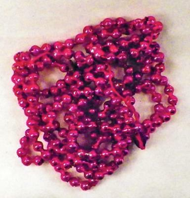 Vintage Christmas Tree Bead Chain Mercury Glass Red Feather 89in #62