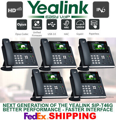 Yealink Sip-T46S Gigabit Ip Voip Phone System-Color Display-16-Line-5 Telephones