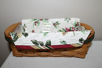 2006 New  Longaberger Holiday Helper Basket,  Fabric, Protector, Card