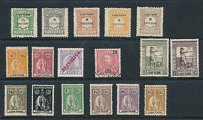 Cape Verde **17 DIFFERENT (1903-1938)** INCL POSTAGE DUES, CERES; MOSTLY MH