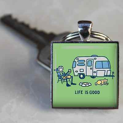 VINTAGE CAMPER KEYCHAIN Airstream LIFE IS GOOD Trailer RV CAMPING KEYRING Dog