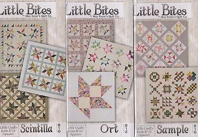 """Little Bites Bundle 2 - pieced mini quilts PATTERN and 2.5"""" Charm Packs"""
