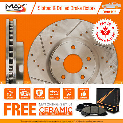 2009 2010 GMC Yukon XL1500 2WD/4WD Slotted Drilled Rotor Max Pads Rear
