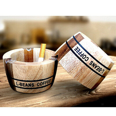 Portable Wood Ashtray Cigarette Ash Tray for Restaurant Pub Bar Home Office