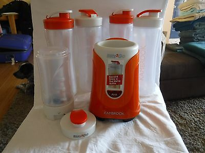 Kambrook Blitz2Go KBL20 Like New 4 x 600ml Bottles 300ml Bottle Blender Smoothie
