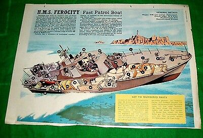 Royal Navy Hms Ferocity Fast Patrol Boat Eagle Cutaway Drawing 29/9/62