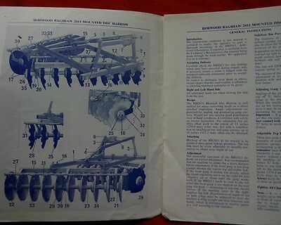 Horwood Bagshaw HB2011, 18 & 20 disc plow plough Owner operator instructions