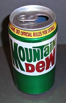 "Cool 1980's Vintage Mountain Dew ""Yellow Band"" Contest Soda Can"