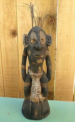 Vintage carving figurine man tribal New Guinea native mask ceremonial NG
