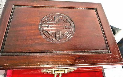 Beautiful Vintage Oriental Asian Heavy Wood Wooden Jewelry Box Red Silk Lining
