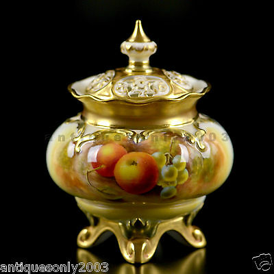 ROYAL WORCESTER Fruit Painted Porcelain Lidded Pot Pourri Vase JOHN SMITH SIGNED