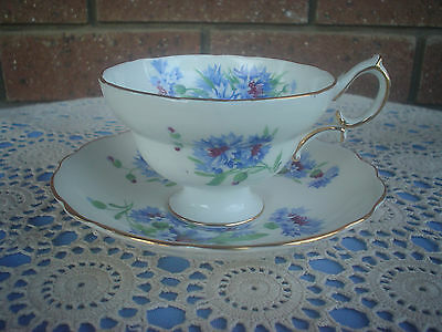 Hammersley Cornflower Blue Cup & Saucer Duo Footed Cup Pattern 6034