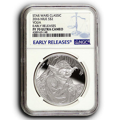 2016 NGC PF70 Star Wars Yoda Early Releases NIUE 1 oz Proof Silver Coin