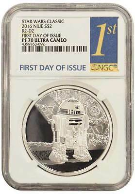 2016 NGC PF70 First Day OF Issue Niue $2 Proof Silver Star Wars Classic R2-D2