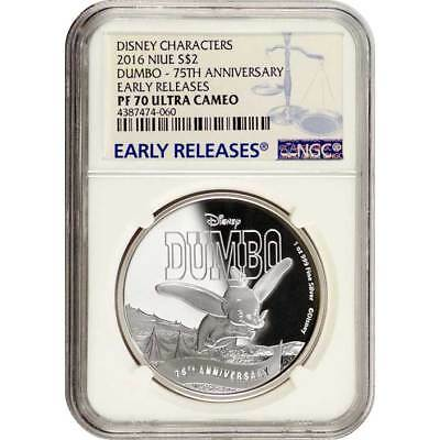 2016 NGC PF70 Early Releases Disney Dumbo NIUE 1 oz Proof Silver Coin