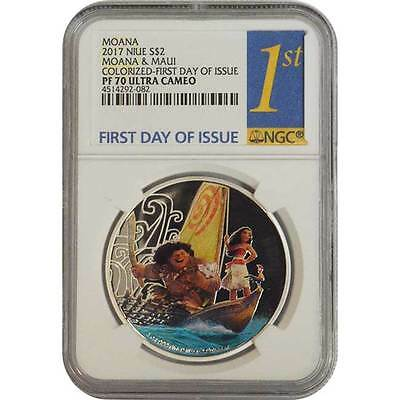 2017 Moana & Maui NGC PF70 First Day Of Issue Niue 1 oz Proof Silver Coin