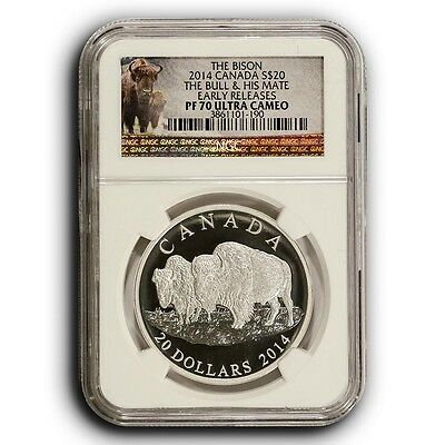 2014 Bull & His Mate Bison NGC PF70 ER Canada 1 oz Proof Proof Silver Coin