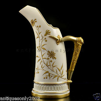 ROYAL WORCESTER Gilded Flower Floral Tusk-Shaped Porcelain Jug Blush Ivory 1886