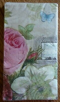 """16 ct Paper Dinner Napkins Guest Towels 2 Ply Party 13"""" x 16"""" ~ Flowers & Music"""
