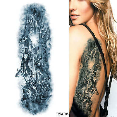 Angels Knights Warriors Black Full Arm Temporary Tattoo Sleeve Sticker Body Art