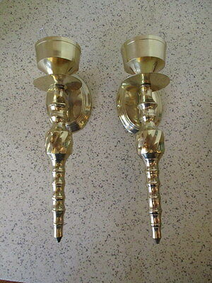 Vintage Pair Solid Brass Candle Sconces,  Great Classic Design,