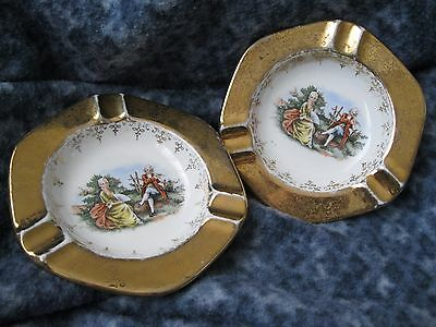ANTIQUE FLEETWOOD CHINA TWO HAND PAINTED 22k GOLD TRIM ASHTRAYS