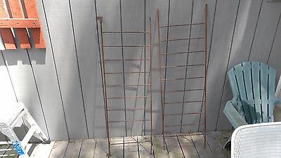 2 Antique Metal Crib Baby Bed Side Rails Architectural Shabby Garden Trellis
