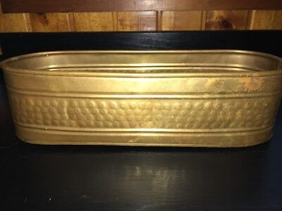 Solid Brass Planter Trough Tub Pot Holder Window Box Vintage Golden