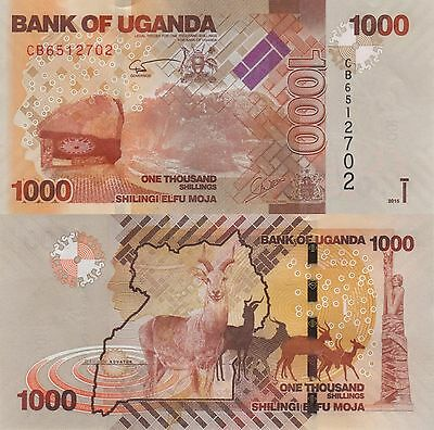 Uganda 1000 Shillings (2015) - Antelope/Coat of Arms/p49c UNC