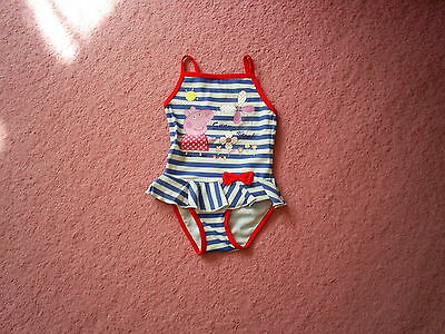"Girls ""George"" White/Blue Striped Peppa Pig Swimming Costume Age 12-18 months"