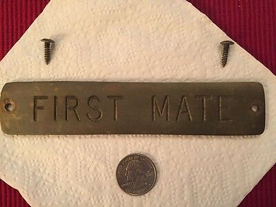 Solid Heavy Brass First Mate Nautical Name Door Plate Engraved