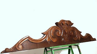 HAND CARVED WOOD PEDIMENT ANTIQUE FRENCH GOTHIC CREST MOUNT CORNICE CARVING 19th