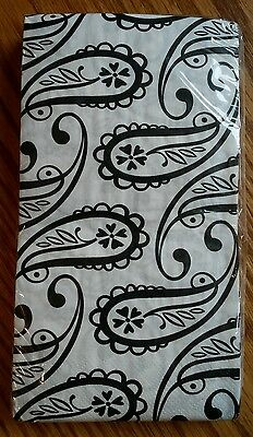 16 ct Black & White Paisley 2 ply Paper Dinner Napkins Guest Towels