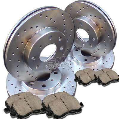 A0673 FIT 2008 2009 2010 2011 Toyota Camry Drilled Brake Rotors Ceramic Pads F+R