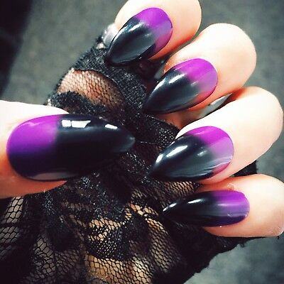 Hand Painted Purple & Black Gel False Nails Stiletto Full Cover - Press On Nails