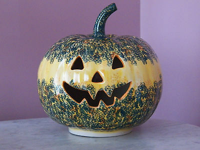UNIKAT Polish Pottery Large Jack O Lantern Tea Light! Falling for You Pattern!