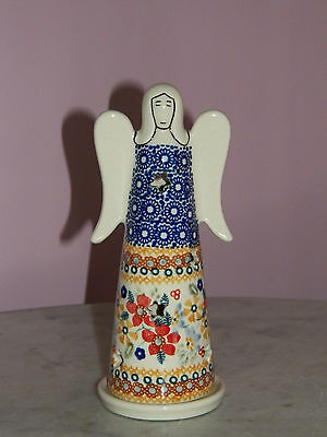 UNIKAT Polish Pottery Small Angel Tea Light! Rembrandt Pattern!