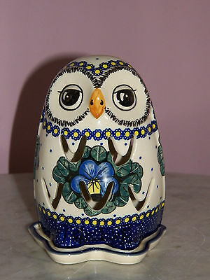 UNIKAT Polish Pottery Owl Tea Light! Mila Pattern!