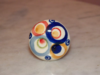 "Polish Pottery 1.5"" Diameter Drawer Pull! Happy Happy Pattern!"